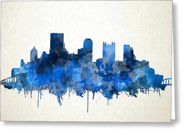 Pittsburgh Skyline Watercolor Blue Greeting Card