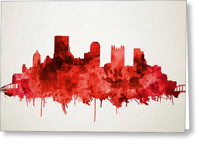 Pittsburgh Skyline Watercolor Red Greeting Card