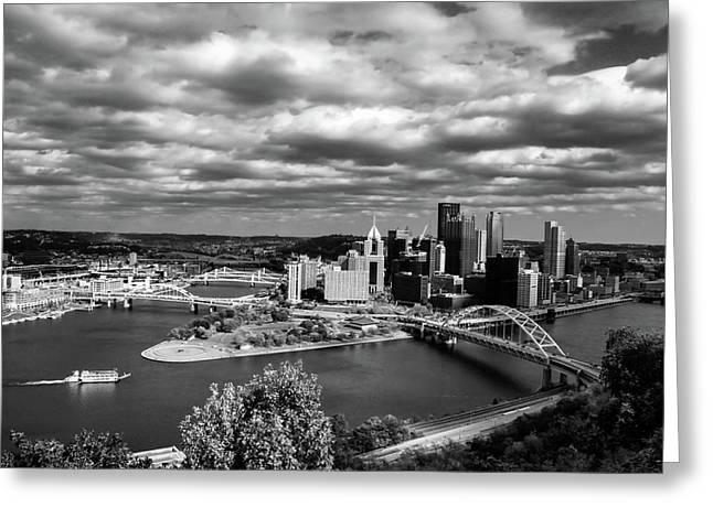 Pittsburgh Skyline With Boat Greeting Card