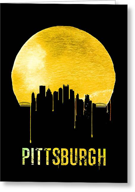 Pittsburgh Skyline Yellow Greeting Card by Naxart Studio