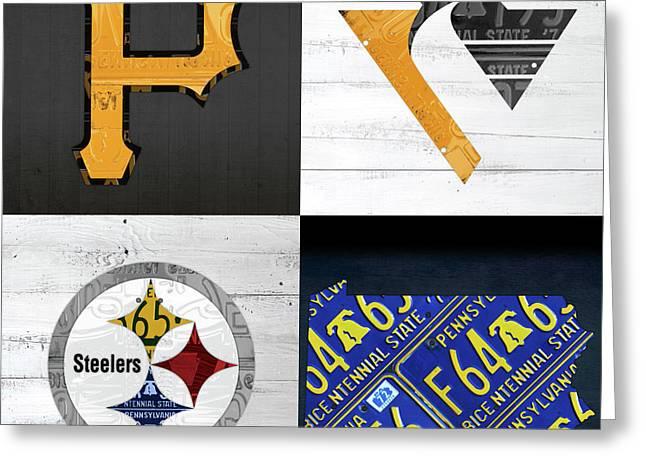 Pittsburgh Sports Team Logo Art Plus Pennsylvania Map Pirates Penguins Steelers Greeting Card