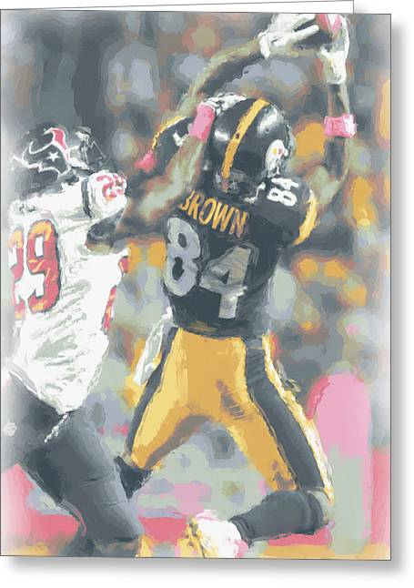 Pittsburgh Steelers Antonio Brown 2 Greeting Card by Joe Hamilton
