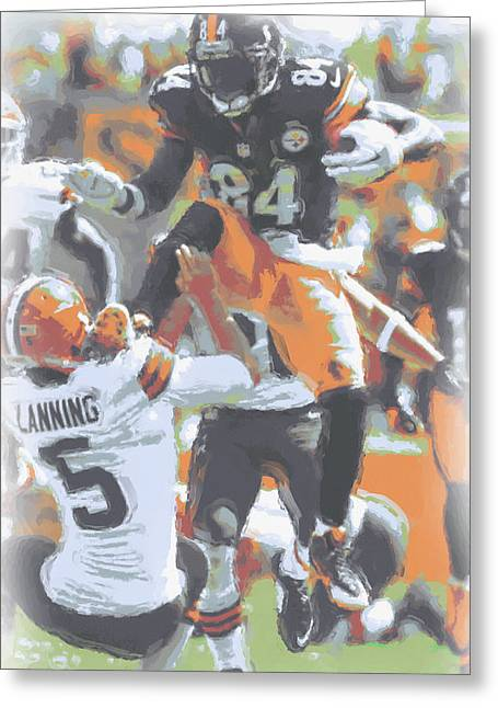 Pittsburgh Steelers Antonio Brown 4 Greeting Card by Joe Hamilton