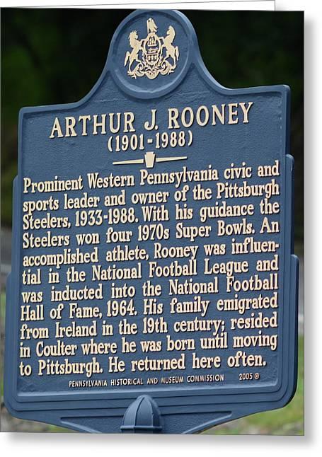 Pittsburgh Steelers Art Rooney Historical Plaque  Greeting Card by Joe Lee