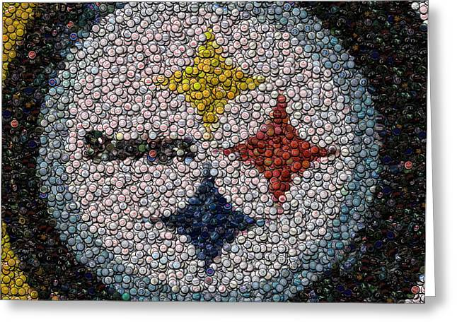 Bottle Cap Greeting Cards - Pittsburgh Steelers  Bottle Cap Mosaic Greeting Card by Paul Van Scott