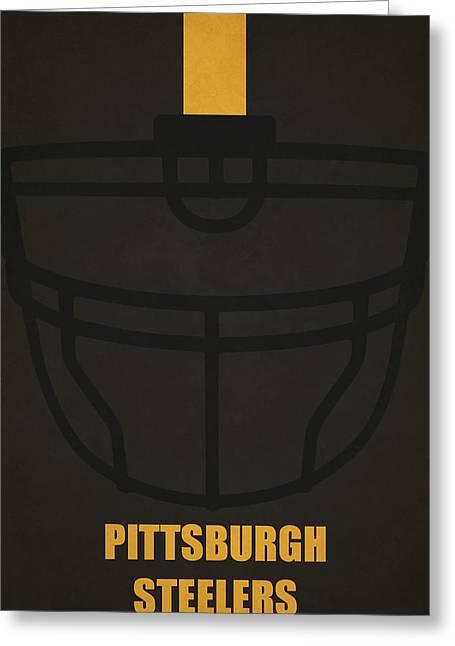 Pittsburgh Steelers Helmet Art Greeting Card by Joe Hamilton