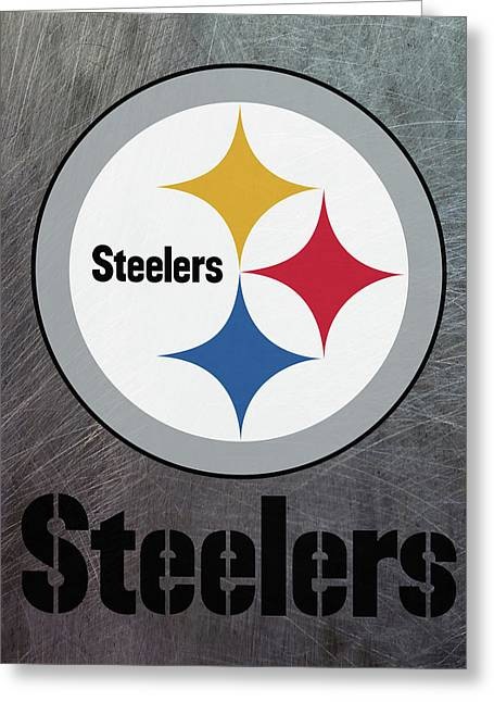 Pittsburgh Steelers On An Abraded Steel Texture Greeting Card