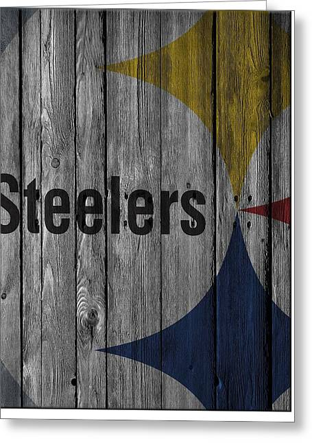 Pittsburgh Steelers Wood Fence Greeting Card