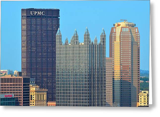 Pittsburghs Big Three Greeting Card by Frozen in Time Fine Art Photography