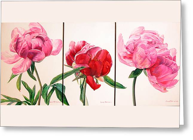 Pivoines Greeting Card by Muriel Dolemieux
