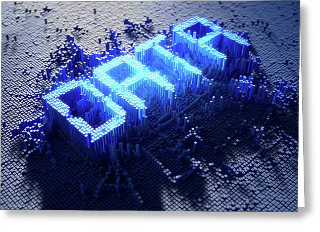 Pixel Data Concept Greeting Card by Allan Swart
