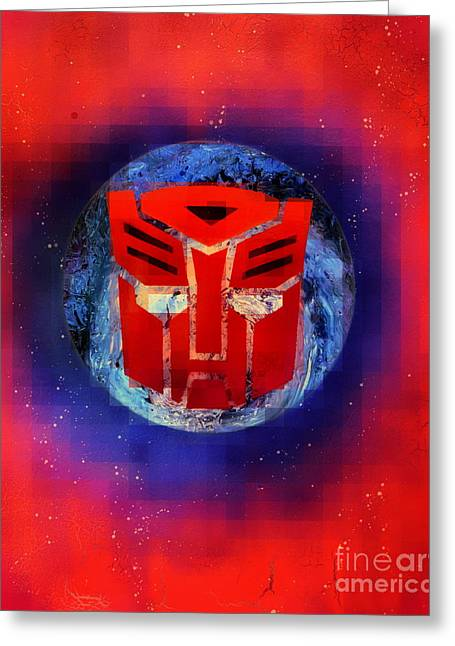Pixeled Autobot Greeting Card by Justin Moore