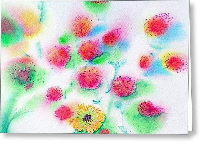 Pixie Flowers Greeting Card by Tina Storey