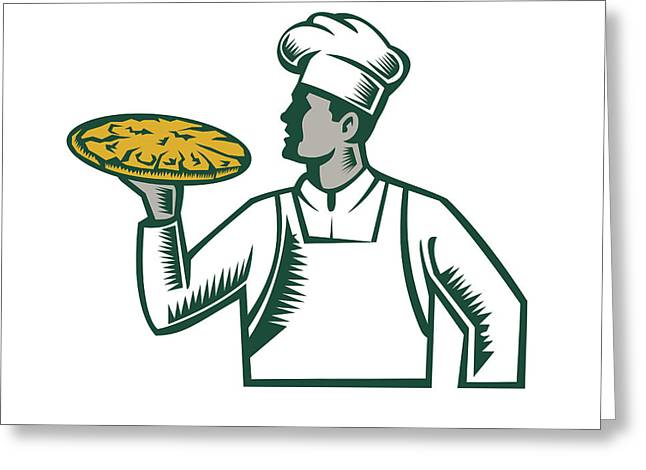 Pizza Chef Holding Pizza Woodcut Greeting Card by Aloysius Patrimonio