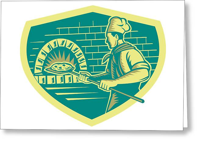 Pizza Maker Holding Peel Crest Woodcut Greeting Card by Aloysius Patrimonio