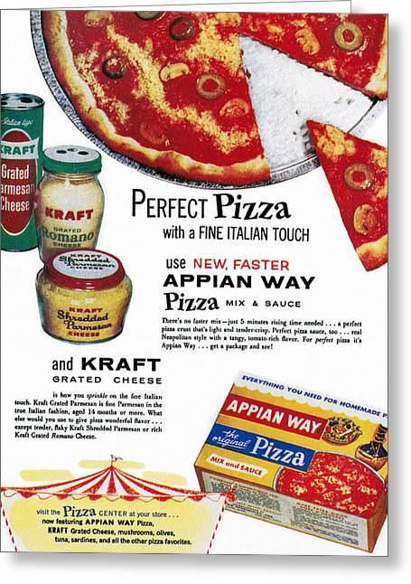 Grate Greeting Cards - Pizza Mix Ad, 1960 Greeting Card by Granger