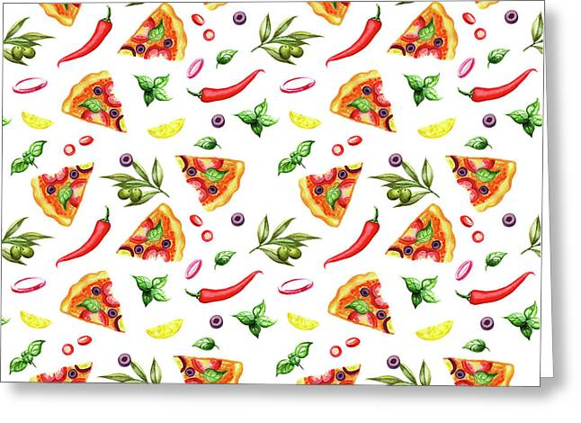 Pizza Pattern Greeting Card by Ekaterina Efanova
