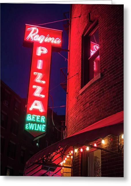 Pizzeria Regina Boston Ma North End Thacher Street Neon Sign Greeting Card
