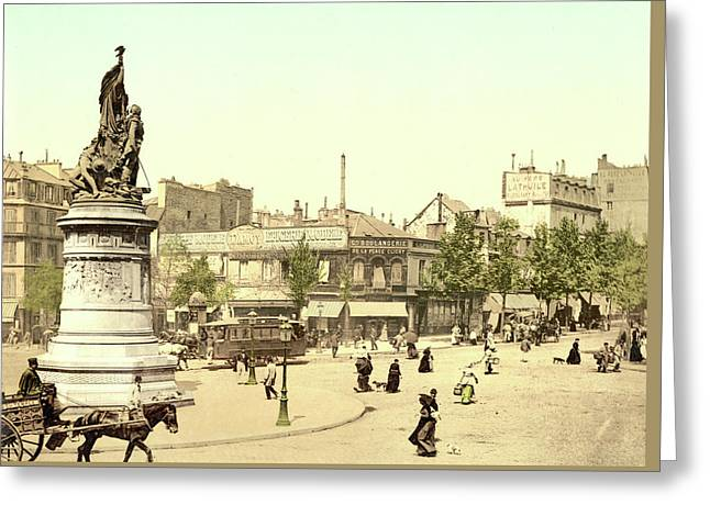 Place Clichy In Paris Greeting Card by French School