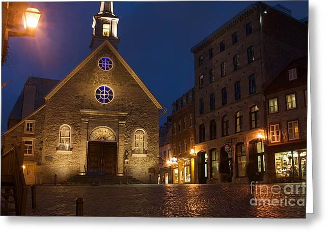 Place Royale And Notre-dame-des-victoires Church At A Rainy Evening Greeting Card by Hideaki Sakurai