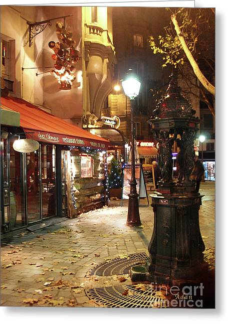 Place St Michel To Rue Saint-andre Des Arts Greeting Card by Felipe Adan Lerma