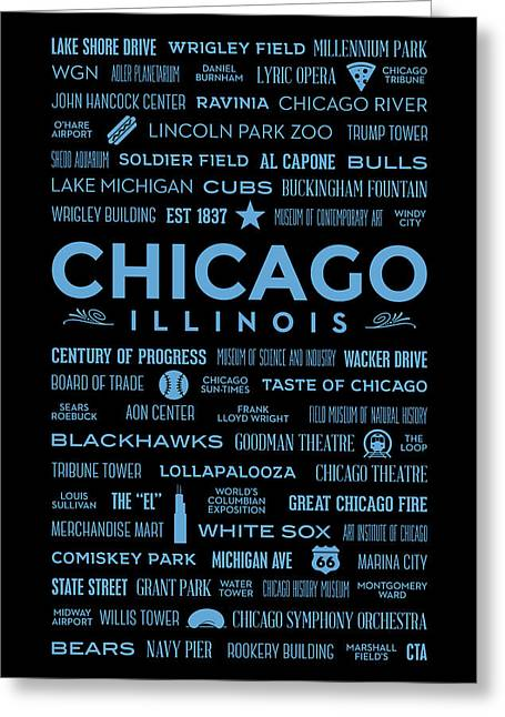 Greeting Card featuring the digital art Places Of Chicago Blue On Black by Christopher Arndt