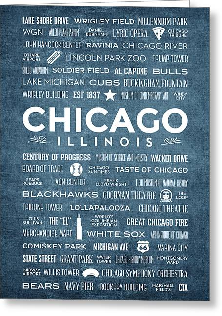 Places Of Chicago On Blue Chalkboard Greeting Card by Christopher Arndt