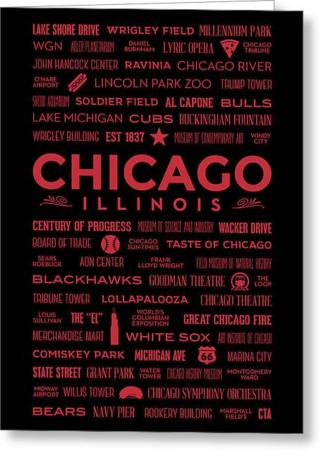 Greeting Card featuring the digital art Places Of Chicago On Red On Black by Christopher Arndt