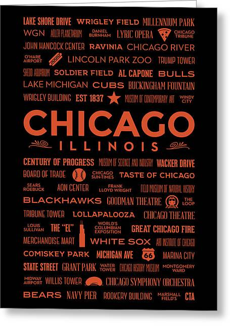 Greeting Card featuring the digital art Places Of Chicago Orange On Black by Christopher Arndt