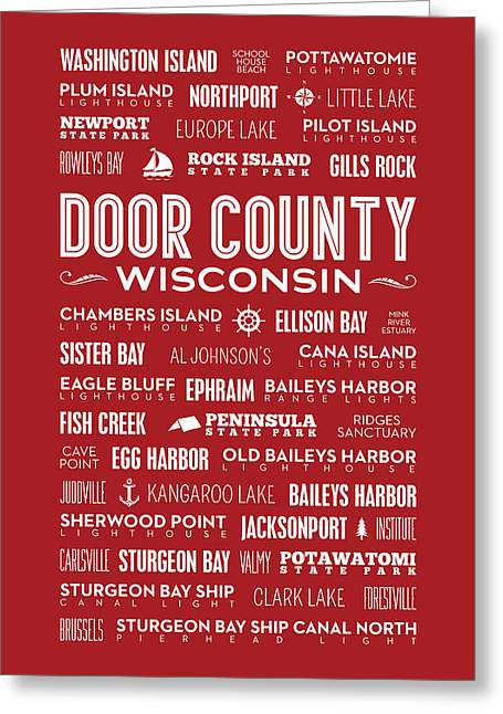 Places Of Door County On Red Greeting Card by Christopher Arndt