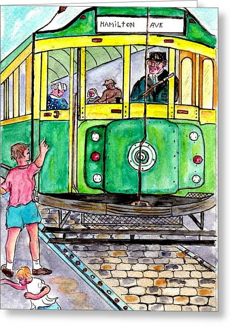 Placing Bottle Caps On The Trolley Tracks Greeting Card