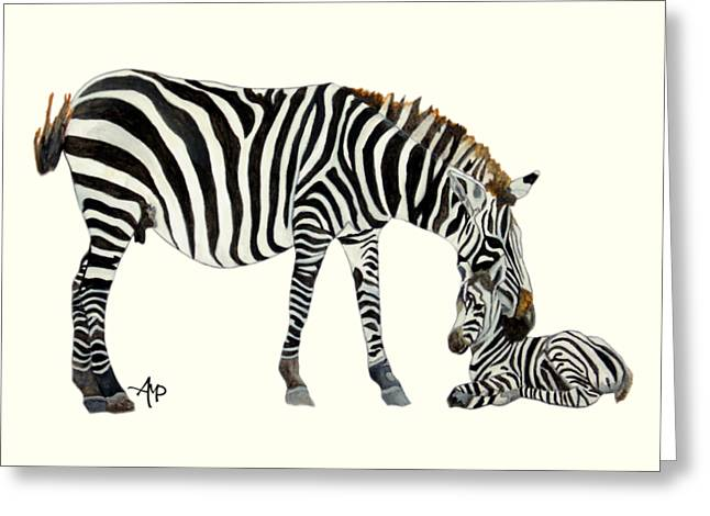 Plains Zebras Greeting Card by Angeles M Pomata