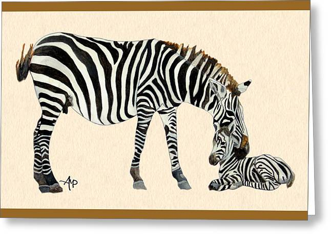 Plains Zebras Watercolor Greeting Card by Angeles M Pomata