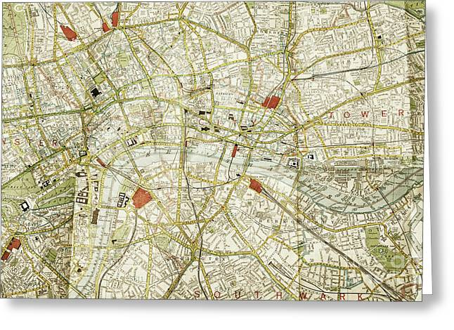 Greeting Card featuring the photograph Plan Of Central London by Patricia Hofmeester