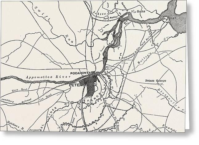 Plan Of Petersburg Greeting Card