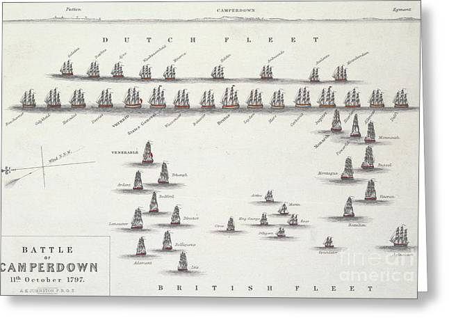 Plan Of The Battle Of Camperdown, 11th October 1797 Greeting Card by Alexander Keith Johnston