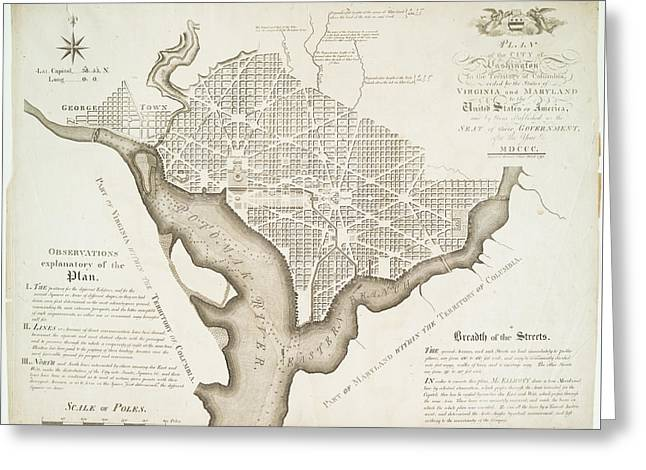 Plan Of The City Of Washington 1792 Greeting Card