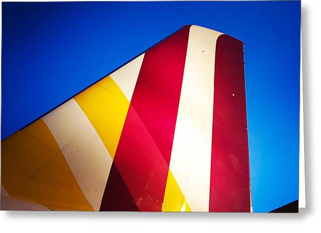 Plane Abstract Red Yellow Blue Greeting Card