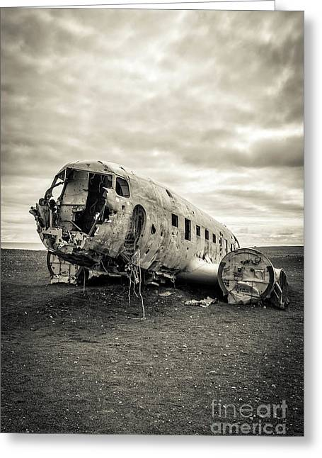 Greeting Card featuring the photograph Plane Crash Iceland by Edward Fielding
