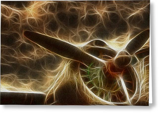 Propeller Greeting Cards - Plane Golden Fire Greeting Card by Paul Ward