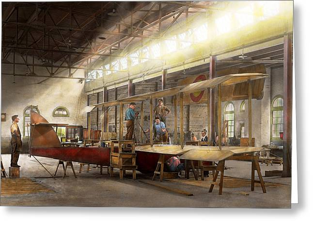 Plane - In The Airplane Factory 1918 Greeting Card by Mike Savad