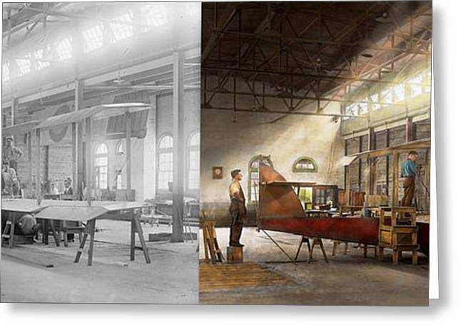 Plane - In The Airplane Factory 1918 - Side By Side Greeting Card by Mike Savad