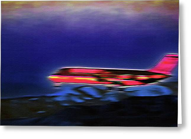 Plane Landing At Airport - The Red Eye Flight Greeting Card by Steve Ohlsen