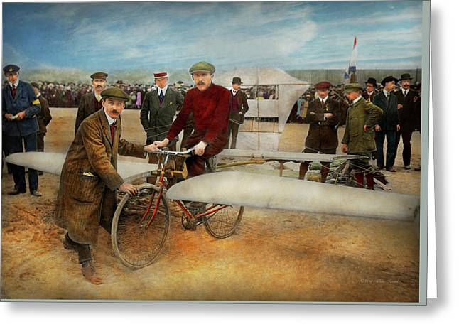 Plane - Odd - Easy As Riding A Bike 1912 Greeting Card
