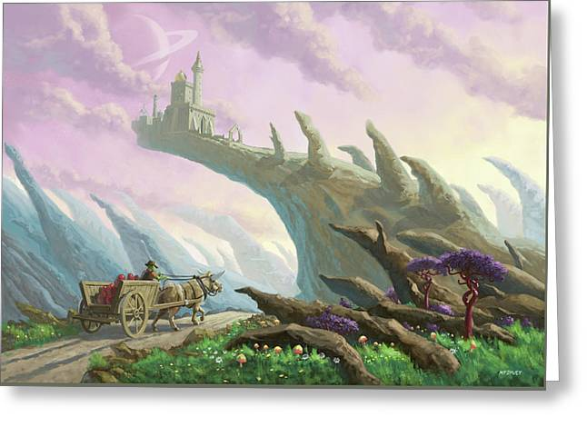 Greeting Card featuring the painting Planet Castle On Arch by Martin Davey