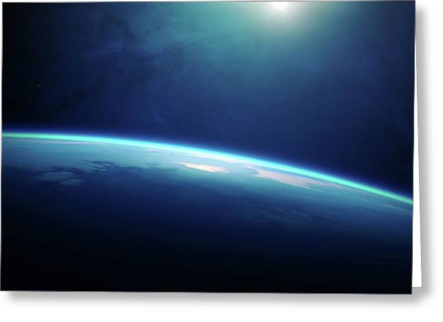 Planet Earth Sunrise From Space Greeting Card by Johan Swanepoel