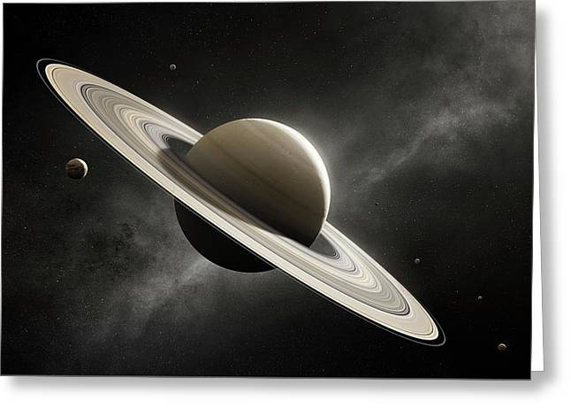 Planet Saturn With Major Moons Greeting Card