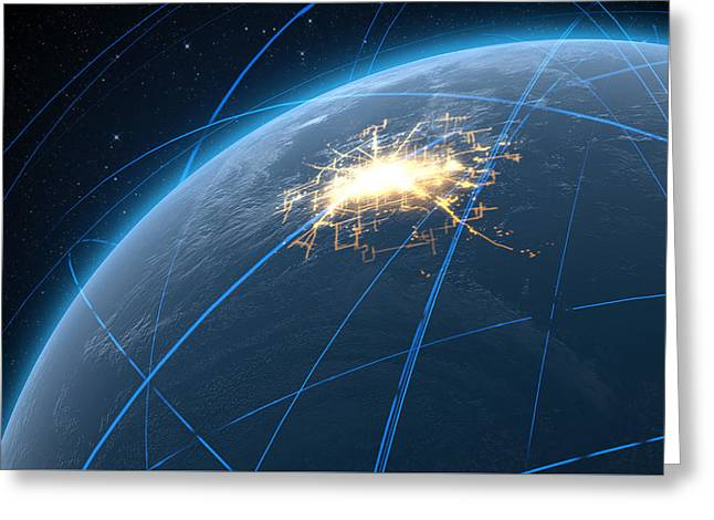 Planet With Illuminated City And Light Trails Greeting Card