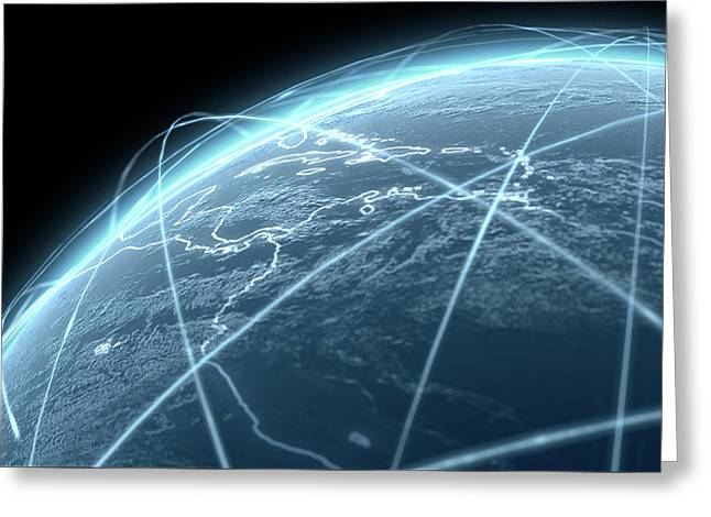 Planet With Illuminated Light Trails Greeting Card by Allan Swart