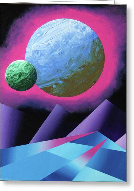 Planet X Abstract Landscape Painting Greeting Card by Mark Webster